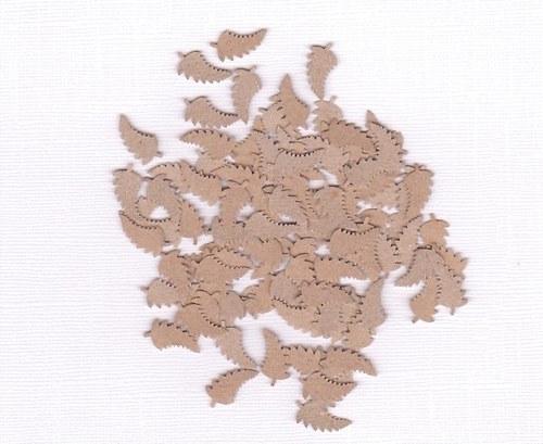 Listy kapradí - hnědé výseky (100 ks)