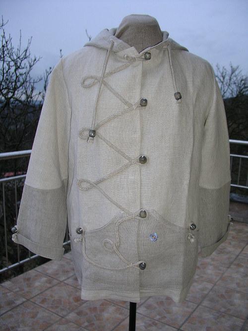Lněný kabátek? mikina? bunda ?s kapucí ze 100% lnu