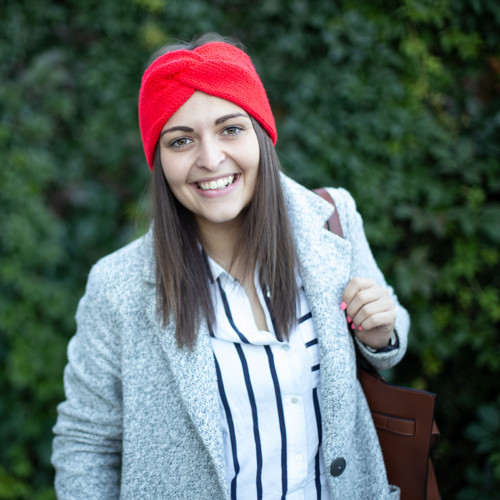 Pletená čelenka - červená