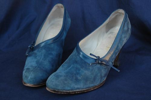 luxusní semišové lodičky modré vel. 37