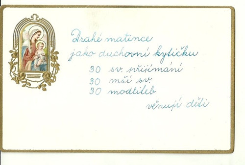 Tvrdá kartička s paní marii Drahé matince