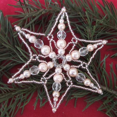 Vánoční vločka velká sv.růžová perličkokrystalová