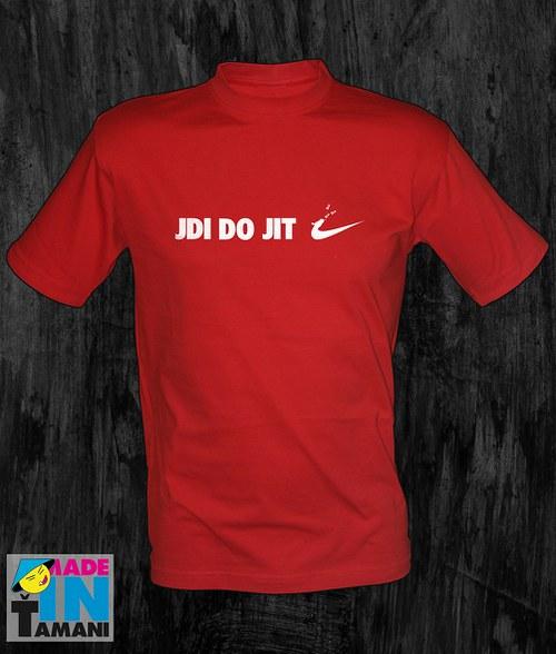 Pánské červené tričko Jdi dojit 02