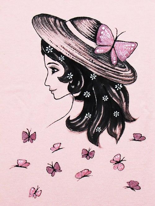 Dívka s kloboukem krátký rukáv