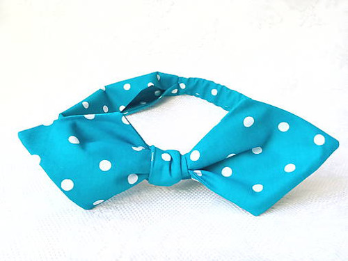 Pin Up headband on elastic (turquoise/white dots)