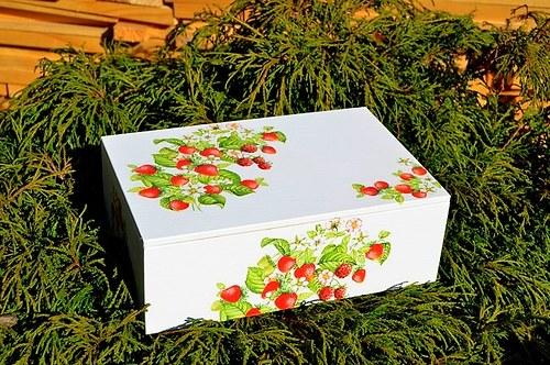Krabička na čaj - 8 přihrádek - jahůdky