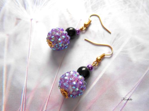 Náušnice fialové + černé