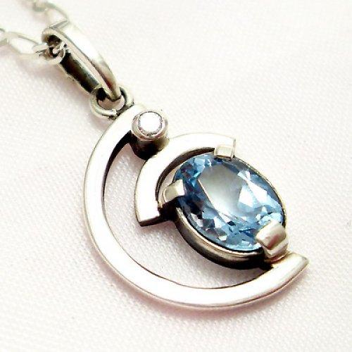 Přívěsek «Sputnik» - stříbro 925, modrý topaz