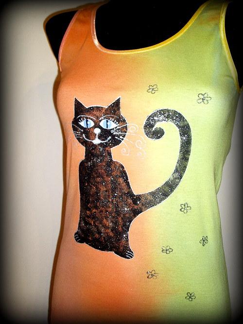 Tílko s černou kočkou...z kolekce Duhová