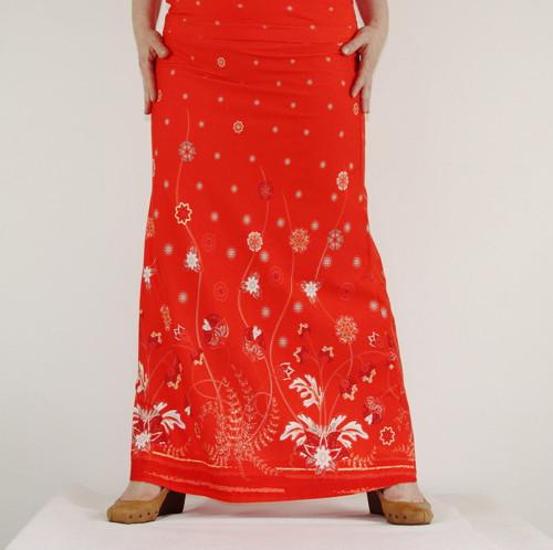 Maxi sukně - červenobílá bordura