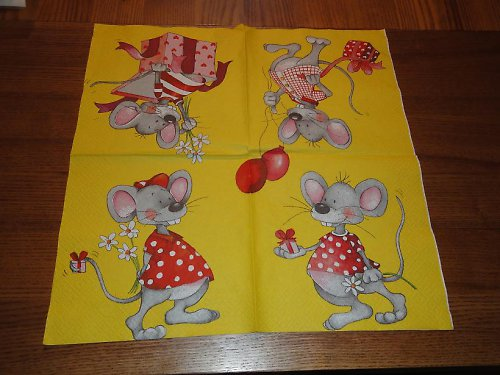 Ubrousek na decoupage - myšky