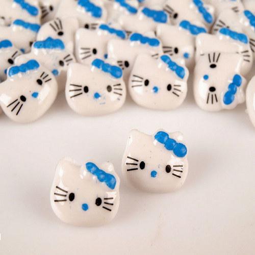 Knoflík Kitty / plast / modrá mašle / 2ks