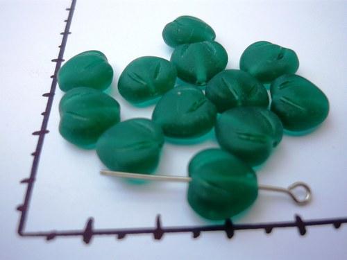 Korálky srdce zelené 10mm, 10 ks