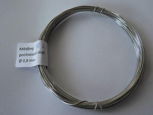 Měděný pocínovaný drát tl. 0,8 mm 10 m