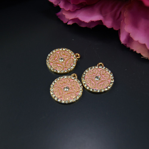 Přívěsek Mandala smaltovaný růžový, 1ks Y34