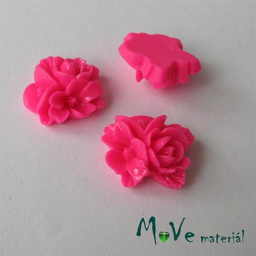 Kabošon květy lesklý A8 - resin - 2ks, tm. růžový
