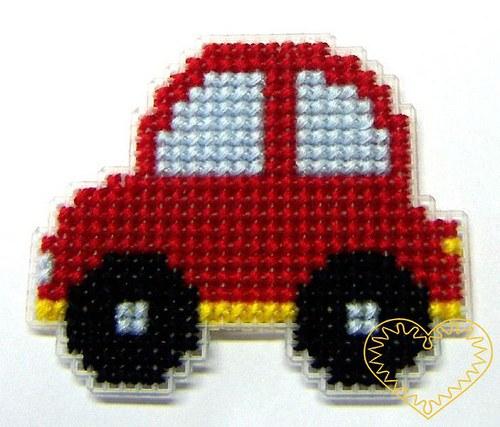 Vyšívaná magnetka autíčko - hobby sada