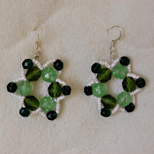 Naušnice kytičky zeleno-bílé