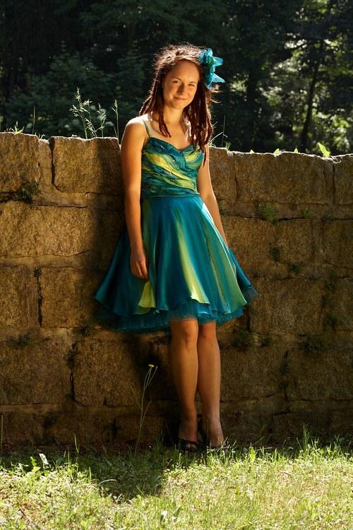 Tyrkysové  hedvábné šaty