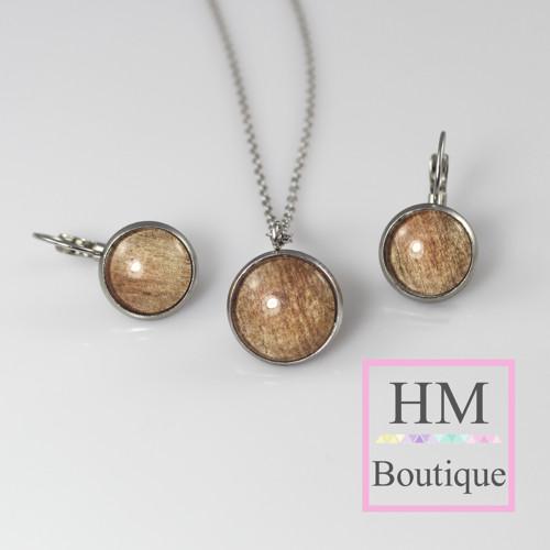 ocelový set -náušnice a náhrdelník dřevěný motiv