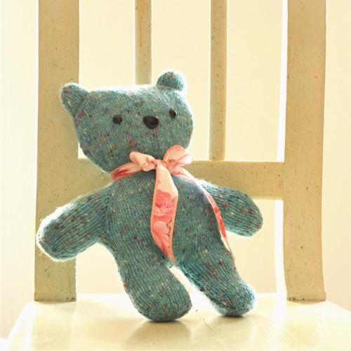 Medvídek - pletený, tyrkysový