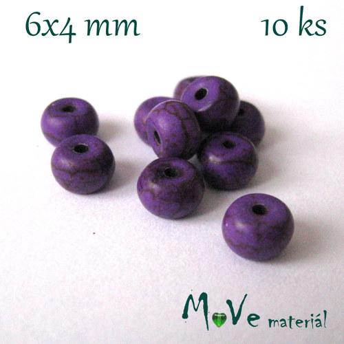 Korálky howlit disk 6x4mm, 10ks, fialový
