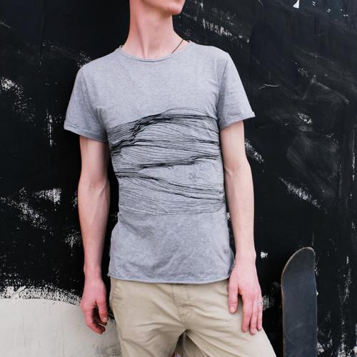 Šedé unisex tričko Minimal travel