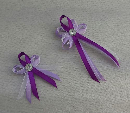 Střední svatební vývazky - bílá/lila/fialová