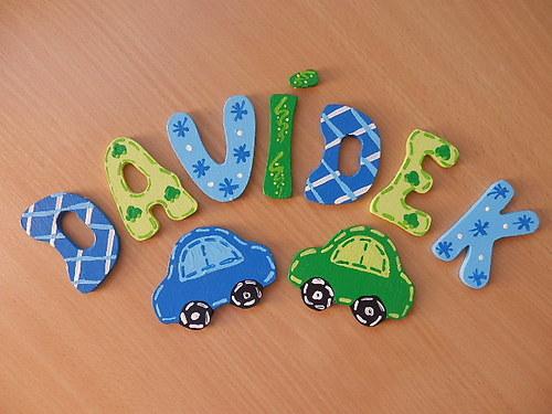 Dřevěné písmenka + dekorace auta
