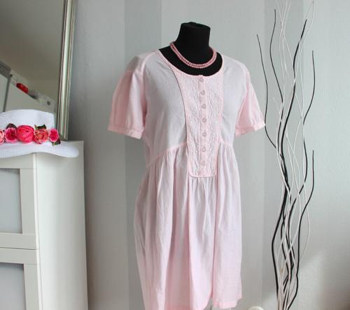 Pink něžné vintage šaty vyšívané