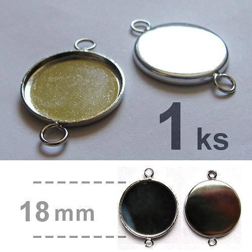 Lůžko se dvěma oky (18mm) - platina - 2 kusy