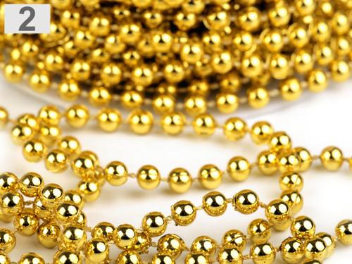 Perlový ozdobný řetěz Ø5 mm (1m) -zlatá