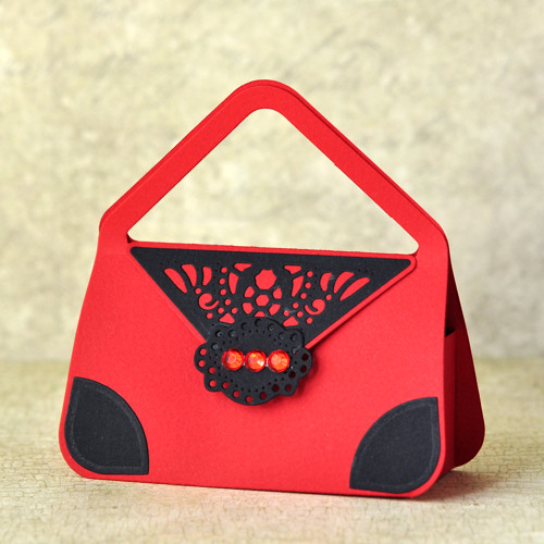 Papírová dárková kabelka - červenočerná