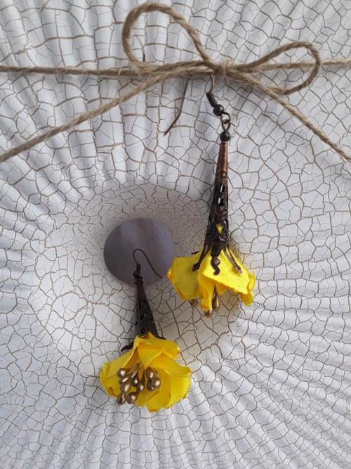 Náušnice - látkové květy