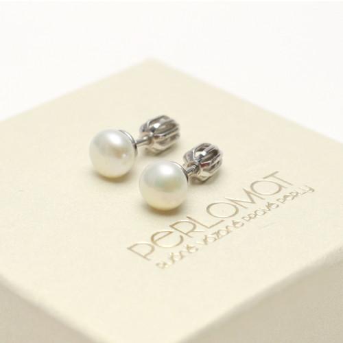 Stříbrné perlové náušnice bílé 7mm, rhod. Ag 925