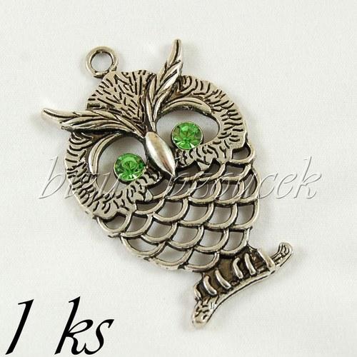 Veliká sova stříbrné barvy se zelenýma očima - 1ks