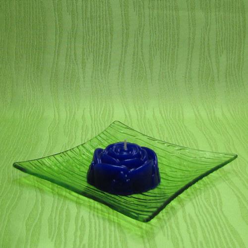 Svíčka dekorativní růže modrá - vanilka