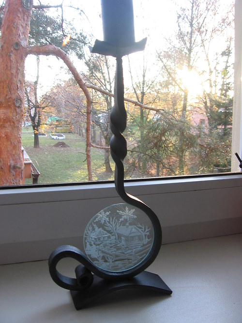 Svícen s broušeným sklem II.