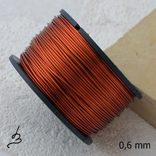 Měděný drát 0,6 mm lakovaný - 25 m