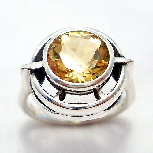 Prsten «Košík» - stříbro 925/1000, přírodní citrín