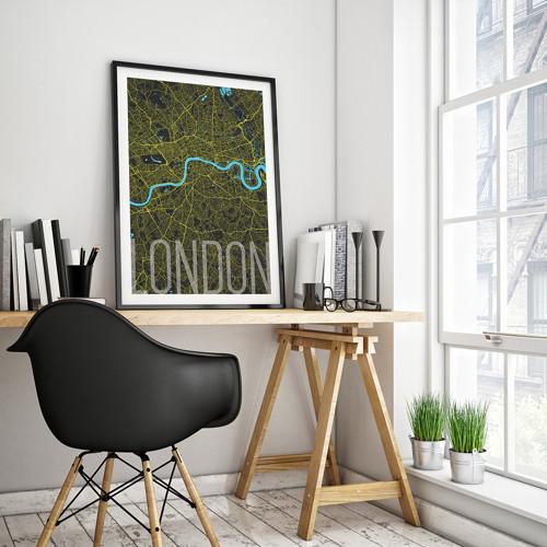LONDÝN, 50x70cm, elegantní, černý