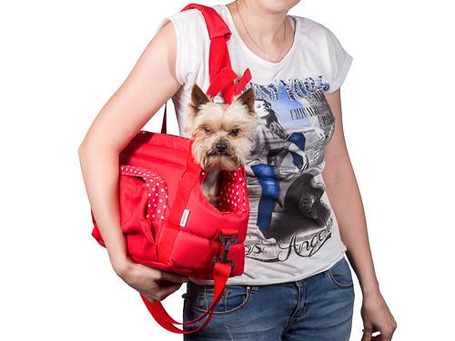 Přenosná taška CARRIE no. 7 červená s puntíky