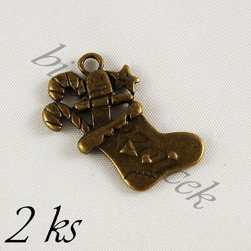 Vánoční punčocha bronzové barvy - 2ks