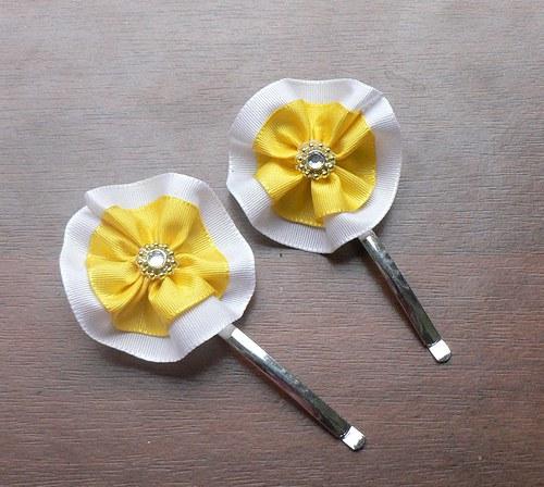 Sponky stuha - bílá, žlutá