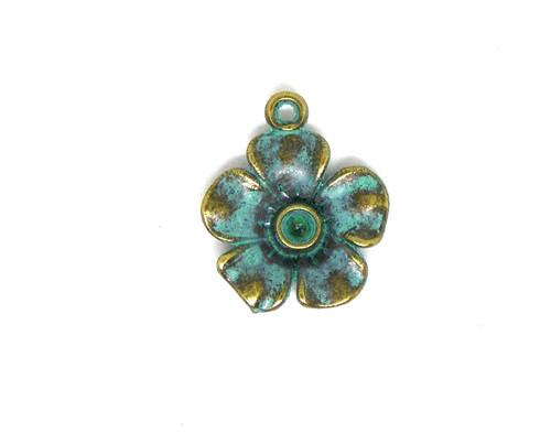 Přívěsek kovový - květina s patinou, 2 ks
