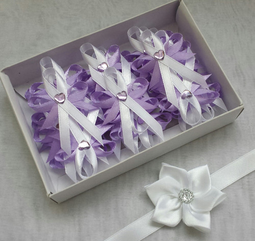 Svatební sada vývazky fialová a bílá