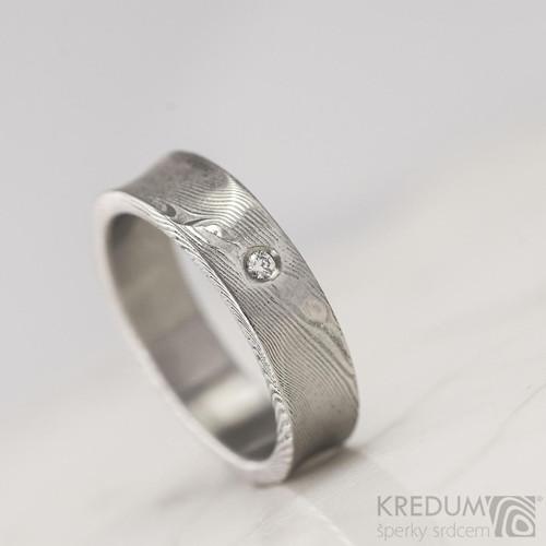Snubní prsten Collium damasteel a diamant 1,7mm