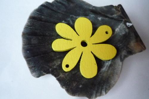 dřevěné kytičky menší 2 ks-  žluté