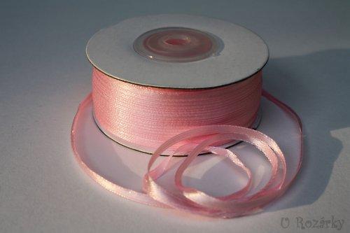 Stuha atlasová, růžová  - šíře 3mm - Cena za 5m !