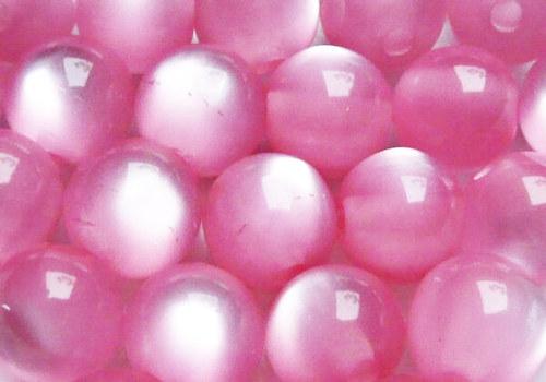 Plastové korálky kočičí oči 8 mm - růžová / 5 ks